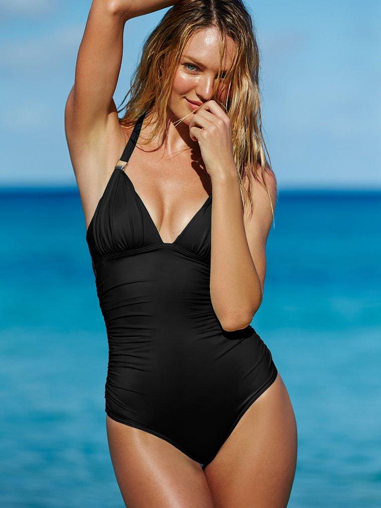 Pink victorias secret black palm print body wrap ruffle triangle bikini top s